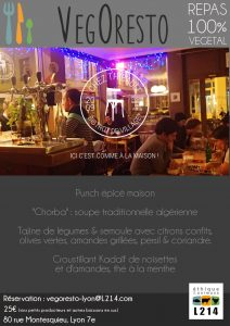 Repas VegOresto Lyon février 2015