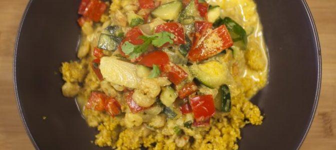 Riz de choux fleur curry crevettes legumes